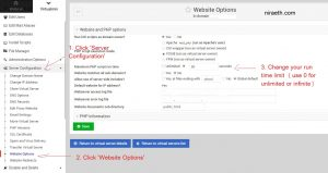 2. change website options timeout limit