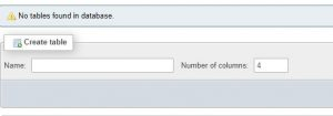 xampp phpmyadmin create tables