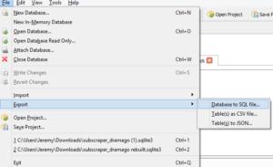 SQLite Browser Export