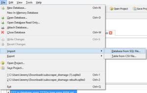 SQLite Browser Import 0